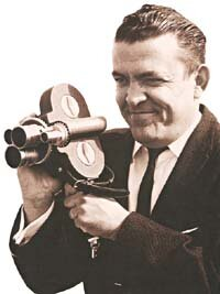 Hank Henry was one of the area's pioneers in television news reporting, shown here with a 16-mm film camera that predated video news gathering. Photo courtesy KTMT.